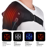 Heat Therapy Shoulder Brace Sooth aches pains away with heat therapy shoulder brace heat settings relief from painful strains Warming sore muscles wraps Wrap Therapy Tendon supports support strains Strain sports sport Shoulder Pads Padded Pad Massaging massagers massager Massage hot Heating Heater Heat for Braces Brace Arm's arm bands arm band