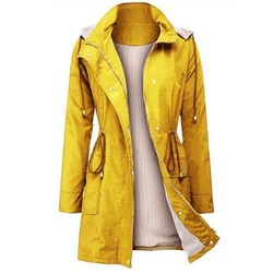 yellow Hooded Waterproof Mid-length Ladies Jacket Made from high-quality polyester fabric. Lightweight, skin-friendly, comfortable and waterproof Women's womens women womans woman winter water resistant traveling travel spring running Overcoat mums mother leisure life jackets hoody Hoodies Hoodie hood hiking girls girl gift coats coat climbing camping biking