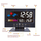 Indoor Weather Station Alarm Clock Monitors your room environment by capturing humidity percentage & temperature Features weather forecast function weather time temperature temp Stations Station Snooze night time lights Light leds led screen led display LCD indoors Indoor humidity display date Clocks Clock Backlights Backlight alarms alarm clocks