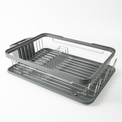 Kitchen Dish Drainer Rack Choose from a Black or Grey draining tray with removable plastic drip tray and cutlery holder with trays tray racks Rack Plastic Non-drip kitchens kitchen gadget kitchen accessories Holders holder grey dripping Drip drains Drainers drainage drain dishwasher dishes dish cutlery