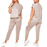 Khaki Women's Boxy Lightweight Tracksuit stylish tracksuit Perfect for gym wear, yoga & leisure The stretchy, breathable fabric is flexible and comfortable work womens women woman wear tracksuit t-shirt suit spandex set leisure jogging gyms gym girl gear fit fashionable fashion clothing clothes chill boxy box bottoms