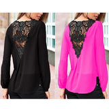 Lace Detailed Back Chiffon Top