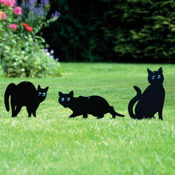Large Garden Scare Cat black with glistening bright eyes Great deterrent to birds, rodents, cats, foxes & pests scaring Scarer repellent pests pest repeller pest killer pest control Pest Nuisance gardens gardening gardeners gardener garden foxes fox Deterrent controls controlled control cats Cat activity
