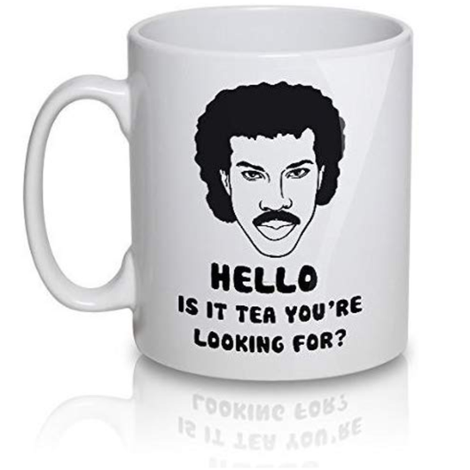 "Lionel Richtea Mug Printed ""Hello Is It Tea Your Looking For"" Fantastic gift idea for tea lover teas tea Richtea rich presents present mugs mug looking Lionel it is Hello gifts gift for drinking drink's drink cups cup coffees coffee Ceramic"