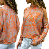 Long Sleeved Shoulder Cut Blouse Upgrade your wardrobe features cut out sleeves casual fit women's women woman wear vest travel tops Summer Blouse Sleeved Shoulder's shoulder shirts shirt sea print orange mum mother Lady Ladies holiday girls girl fun fashionable fashion earth cut cotton comfortable clothing clothes blue Blouses Blouse beachwear beach
