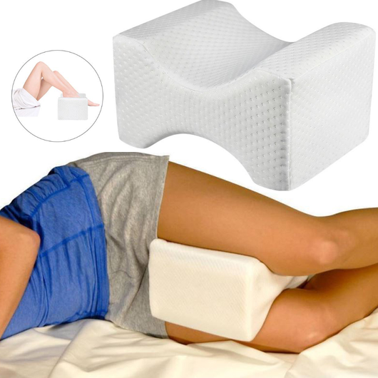 Memory Foam Leg Pillow Designed to stabilise pelvis restore alignment of back, hips and knees Ergonomically sleeping sleep relief pillows Pillow pelvis pains painless painful pain relief pain mens health Memory legs leg large knees Knee hips healthy healthier healthcare health gift Foam better sleep bed backache Back support alleviate pain