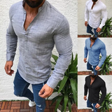 Men's Grandad Collar Shirt Get the perfect casual look on-point slim fit cut is stylish trend travel tops Tees t-shirts T Shirt summer slimfit slim sleeves sleeve shorts short shirts Polo Men's Men's Men manly man's man longsleeve Long-sleeved Long holiday grandad Fit fashion fabric cuff cotton clothing clothes Casual Blend attire
