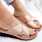 Metallic Toe-Support Sandals