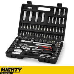 Mighty Toolware 94pc Socket Set Professional Quality Kit Built to Last This kit has everything you can possibly need TORX toolset tools toolkit toolbox tool set tool kit tool box Tool sockets sets screwdrivers screwdriver Ratchet Kits kit drivers driver drills drilling drill bits drill cases carry case Bits bit 94pcs 94 1/4 1/2