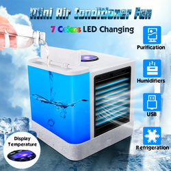 Mini Air Conditioner Fan Compact, eco-friendly, personal humidification, refrigeration, & air purification usb fan Table Small Room Portable Light LED heat fresh air fans cools Cooling coolers Cooler cool down Cool Box Cool conditions Conditioning conditioner's condition cold Arctic airflow aircon air-con air conditioning