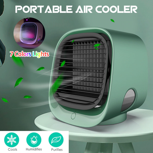 green Mini Air Cooler with Nightlight Compact, eco-friendly, personal air conditioner with Water usb fan Tank Purifiers PURIFIER Portable Miniature mini fan Humidifiers humidifier Home fans fan Desktop Dehumidifiers Dehumidifier cools Cooling coolers cool down Cool Box Conditioning conditioner's aircon air-con air conditioning air adjustable fan