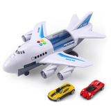Aeroplane Transporter Light-Up Toy creative fun multi-storey multicoloured light up jet engines touch button wings Transporters transport Toy's storey Play Set play plane pilot multi-coloured lorries Light lift kids jets jet girls girl creative play Children child cars car boys boy blue aviation airport aircraft