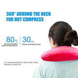 Neck Shaped Hot Water Bottle Keep warm and supported pillow soothing tired shoulders ergonomic horse shoe design water warmth warming tired therapy therapeutic supportive support soothing soothe shape necks neckline neck muscles horse shoe homes Home heating Gift's effect cooling comforting comfort bottles