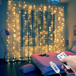 Net Curtains LED Lights with Remote IP65 waterproof indoor and outdoor activities. Christmas, Valentine's Day, wedding, party, home, window, bedroom, hotel, commercial building, shopping centres, fashion shows, stages, twinkle star USB strings string Remote-Controlled netting flashing fairy lights Decorations decoration decorating decorate decor curtain