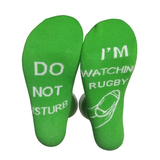 green 'I'm Watching Rugby' Socks Give the rugby fan a gift hilarious novelty socks slogan Do not disturb watching watch union TV toes toe team teams sports sport sock present nations mens men match man league home great gift games game day game fun foot feet fans fan cotton comfortable clothing cheeky breathable boy ball adult