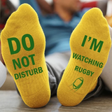 yellow 'I'm Watching Rugby' Socks Give the rugby fan a gift hilarious novelty socks slogan Do not disturb watching watch union TV toes toe team teams sports sport sock present nations mens men match man league home great gift games game day game fun foot feet fans fan cotton comfortable clothing cheeky breathable boy ball adult