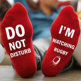 red 'I'm Watching Rugby' Socks Give the rugby fan a gift hilarious novelty socks slogan Do not disturb watching watch union TV toes toe team teams sports sport sock present nations mens men match man league home great gift games game day game fun foot feet fans fan cotton comfortable clothing cheeky breathable boy ball adult