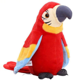 red Talking and Recording Parrot pretty polly novelty Records your voice with playback function songs, rhymes and jokes vibrant toys toy talk songs soft rhymes records Recordable record pretty plush plays Parrot's gift mcCaw kids girls girl gift fabric design Children's children child bright boys boy