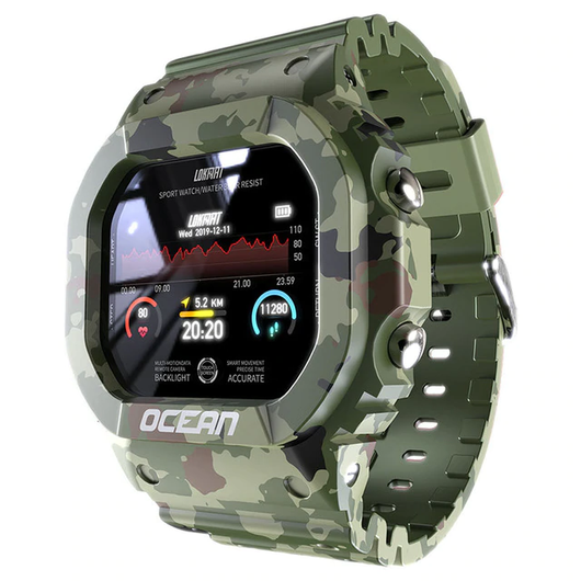 Army Green Ocean Smartwatch Downlad the DayBand App to your smartphone, tracking, calorie burn tracking, goal setting, exercise tracking, information reminder, remote camera, multiple alarms, sleep mode, and more! Pedometer: Women's womens women watches watch trackers tracker smartwatches smart sleep monitor Rate