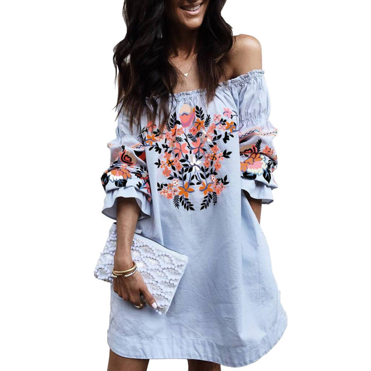 Off-Shoulder Frill Tunic Dress