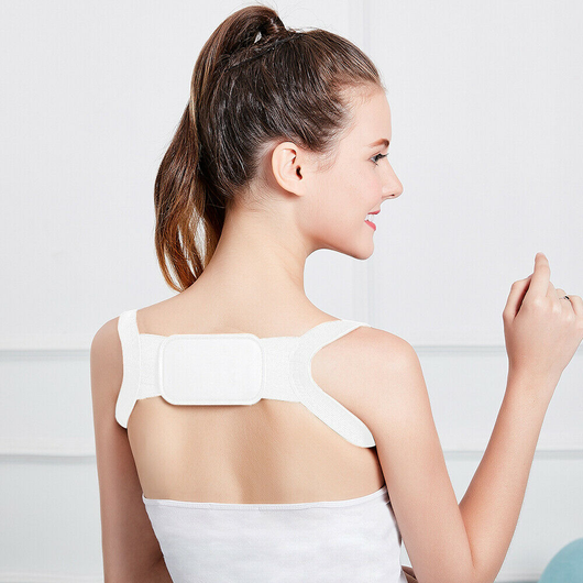 white Orthopaedic Posture Support Give your back a break with this extra light flexible figure 8 womens women woman wearing upper back unisex travel training train Supports Support stretchy stress straight shoulders postures neck mother Men lower back healthy health girls girl flexible fabric back pain