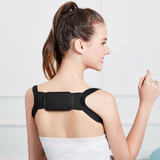 black Orthopaedic Posture Support Give your back a break with this extra light flexible figure 8 womens women woman wearing upper back unisex travel training train Supports Support stretchy stress straight shoulders postures neck mother Men lower back healthy health girls girl flexible fabric back pain