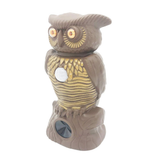Ultrasonic Pest Repeller Garden Owl Decorative, practical emits an ultrasonic sound deters animals insects gardens, patios, driveways yards Yard with Ultrasonic statues Statue rodent repeller repellent repel pests pesticides Pesticide-free pest repeller pest control owl's Light-up gardens garden for fences Fence eyes alert