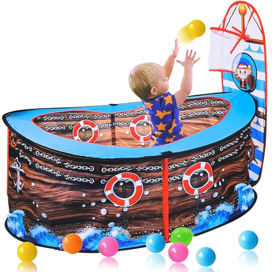 Pop Up Pirate Ship Tent Babies, toddlers and children can have waves of fun wonderful sensory play area, Up tents tenting Tent ships Ship popup pop-up pop Pits Pit pirates Pirate kid-safe kid's kid girl's girl childs Children's Children Childhood child boys boy boats boat balls ball