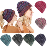 PonyTail Winter Knitted Hat Avoid having hat hair textured knit new style hat wool wonderful womens women womans woman winters winter warmth warm tied up new mums mum mother knits hole heads headband head wear head hats hat hair girls girl gift fashionable fashion clothing Children bobble autumn