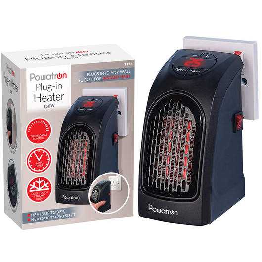 Powatron Plug-In Heater Compact, lightweight, portable, Blow hot air Heat up home, caravan, office 350 watts warmth warming Warmer warm Silent mini fan Heating Heaters Heated Heat Handy fans fan electronic electricals electrical electric's electric