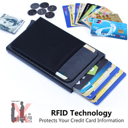 RFID Credit Card Holder Keep your credit cards safe and untraceable RFID aluminium pocket card holder Built in radio frequency identification contactless wallets wallet travel theft stylish sleek purse money holiday gift everyday essentials currency credit contactless change cash card's card blocks blockers blocker block anti theft aluminium