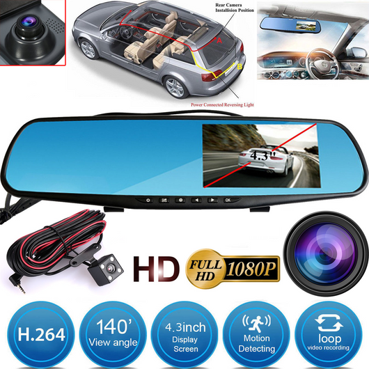 Rearview Mirror Motion Detector Dashcam