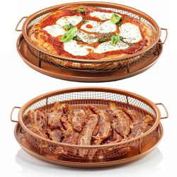Round Oven Pizza Baking Tray Set create crispy dishes without excess oil or butter infused stainless steel non-stick surface trays Tool's Tool ovens oven mesh crispy crisps crisper's Crisper crisp Copper-Infused cookware cooks cooking cookers cooker cook chips chip chefs chef baskets basket baking 2pcs 2pc