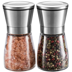 Salt and Pepper Grinder Set Features an adjustable ceramic grinder allows you to finely crush, mill and grind your spices stainless steel shaking shakers Shaker shake sets set of 2 set Mill kitchens kitchen gadget kitchen accessories Grinders glass foods food preperation food prep food grade dinner party Coarse