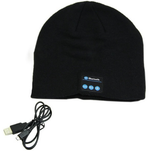 black Bluetooth Music Beanie hat with built-in speakers listen to music Take phone calls mic removable Charge via a USB cable women Wireless Unisex travel Smart musician music mobile Men Knitted headsets Headset headphones Headphone hats hat girls earphones earphone Earbuds earbud caps Cap boys Bluetooth beanies Beanie