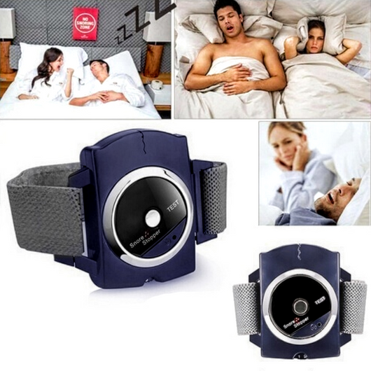 Anti-Snore Bracelet When three consecutive loud snores are detected it sends out a very gentle electrical wave to stimulate nerves on the snorer's skin snoring snores snore sleeps sleeping sleep monitor sleep noisy noise activated Men man flexible Cordless bracelet bed battery Automatic anti-snoring anti-snore Adjustable
