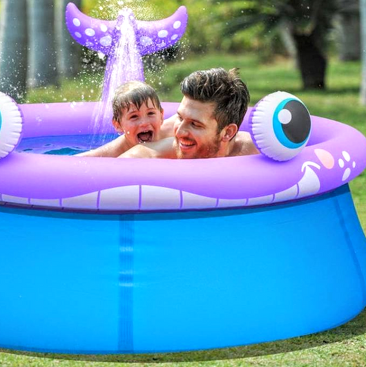 Inflatable Whale Swimming Pool with Sprinkler System
