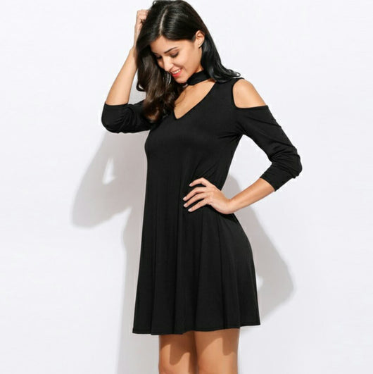 Choker Neck Swing Dress