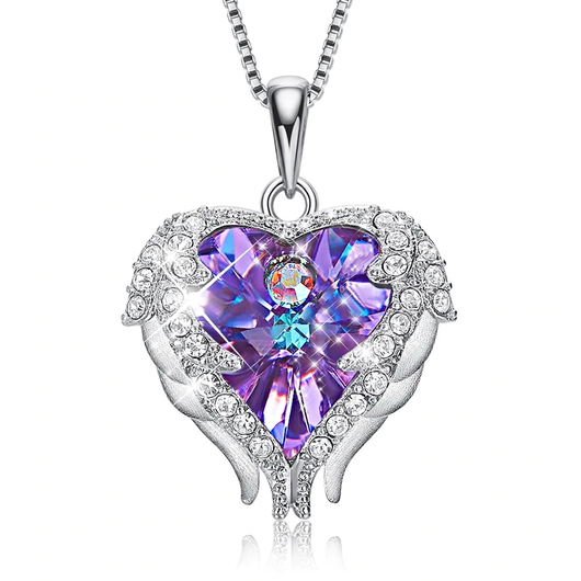 Purple Angel Wings Necklace Crystals from Swarovski crystal angel pendant necklace beautiful studded heart women wings trend symbolic studded silver quality pendant necklaces jewellery jewel hearts heart girls girl gifts gift fashion diamonds diamond crystals clasp chain bracelet beauty beautiful angels angelic 925