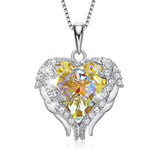 yellow Angel Wings Necklace Crystals from Swarovski crystal angel pendant necklace beautiful studded heart women wings trend symbolic studded silver quality pendant necklaces jewellery jewel hearts heart girls girl gifts gift fashion diamonds diamond crystals clasp chain bracelet beauty beautiful angels angelic 925