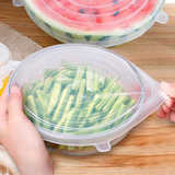 Six-Piece Reusable Silicone Food Lid Sets Made from food-safe silicone, these air-tight and leak-proof lids bowls cups dishes pans Set of 6 set Set's foods food preperation food prep Reusable 6pcs 6pc piece six 6 suction lids silicon lids lid kitchen accessories kitchen hygenic Home fresh food grade covers cover Clear bpa free