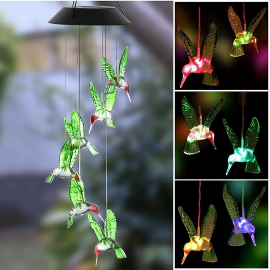 Solar LED Hummingbird Wind Chime Give your outdoor space an ornamental feature with solar LED humming bird wind chime waterproof summer solarpowered solarpower solar-powered solar outdoor Ornamental multi coloured Light led's LED hummingbirds hummingbird Humming house Home green gardens gardening garden feature Day chimes chime birds Bird