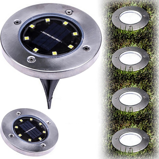 Solar Powered LED Disc Lights Decorate your Garden stick them into the ground or screw them into decking, pathways solarpowered solarpower solar-powered solar powerful power night light lightup lighting lightbulb Light Up light exposure Light led's LED lights ground gardens gardening garden disc's