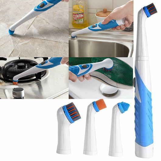 Sonic Scrubber Cleaner Includes 4 heads hard to soft bristles vibration ensures dirt and dust sonic scrubbers scrub kitchens kitchen in housework houses household house electrical electric cleans cleaning cleaners clean caravans caravan car's car wash brushing Brushes brush bathrooms bathroom bath