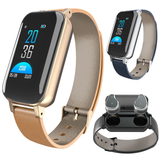 gold T89 TWS SmartWatch & Earbuds Set cutting edge track your health data HD quality TWS earbuds weather waterproof watch USB TWS tracker track social smartwatches Smartwatch smartphones smartphone smart pedometer LED IP67 iOS in-ear heart health headphones ears earphones earbuds ear display calorie bracelet bluetooth APP