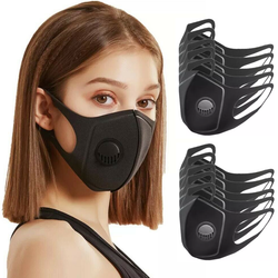 Ten Face Masks with Breathing Valve Designed to provide enhanced protection, this face mask features a breathing valve and three-dimensional structure to fit most face shapes with valves packs pack of mask's Mask faces face covid19 covid-19 covid coronavirus corona breathes breathe breathable breath 10-Pack