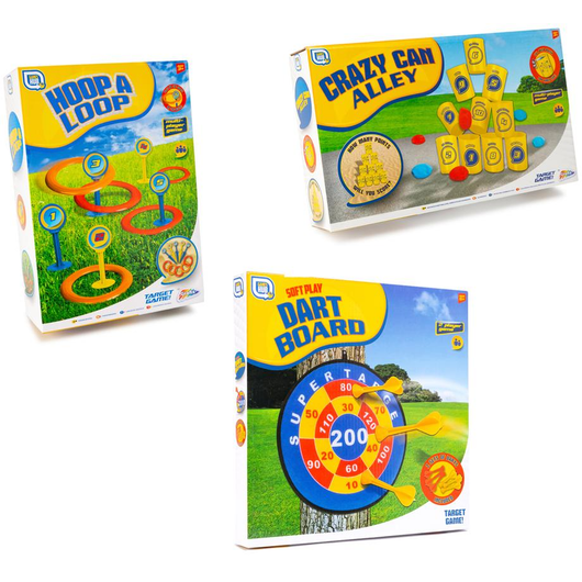Triple Garden Game Set Take the party outside with three fun-packed garden games! Triple Tower throwing throw Three summer sticky soft play skills sets Set of 3 points pointed play pegs peg PE party pack outside of loop knock house hoop girls gift game fun family families entertainment darts Crazy Children child can bumper boys and Alley