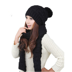 black Two-piece Thick Warm Hat Scarf The perfect accessory for the winter season Made from 100% acrylic yarn warm feel Women's womens women womans woman winter warmth warming Warmer Two Thick sets set of 2 set Scarves Scarfs scarf pieces Piece pcs pc Lady Ladies hats girl's girl gift clothing clothes bobble 2pcs 2pc 2 piece