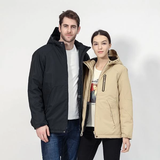 USB Heated Unisex Winter Jacket Beat the cold weather 3 heating panels body coverage, radiator powerbank zip work women winters winter windproof weatherproof waterproof warmth warming walking thermal temperature temp snow skiing ski power pockets outside outdoors men integrated hiking heating heated heat gore-tex commuting