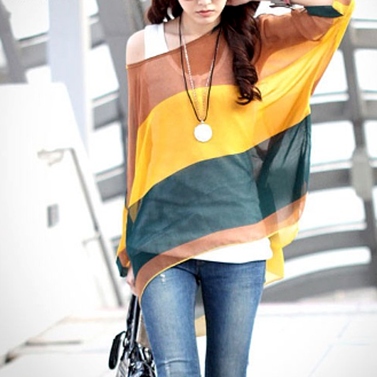 Wide Stripe Batwing Chiffon Tunic